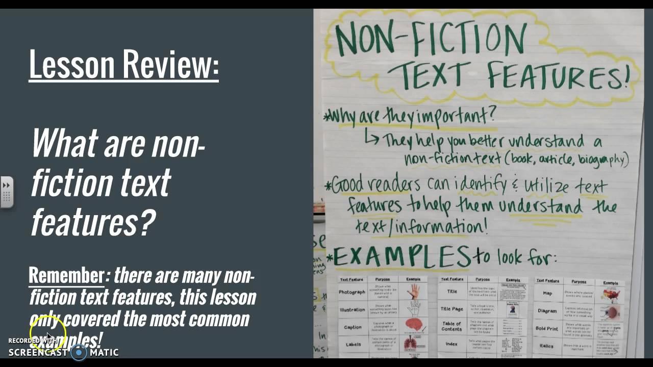 Biography NonFiction Text Features Lesson YouTube – Nonfiction Text Features Worksheet
