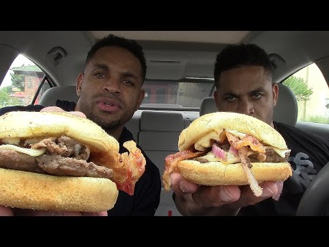 Eating Rally's PHILLY CHEESESTEAK BURGER @Hodgetwins