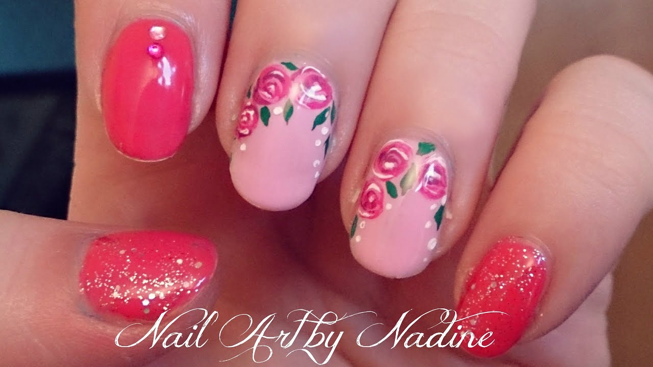 floral gel nail art tutorial