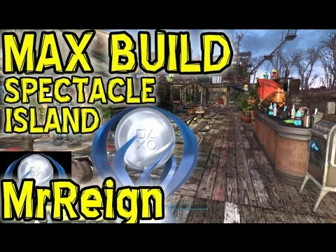 FALLOUT 4 - SPECTACLE ISLAND - Biggest Settlement - Max Build - Settlement Building Guide - PS4