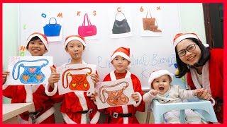 Santa Claus Go to School Learn Colors Hand bag Christmas 😀 Classroom Funny Nursery Rhymes