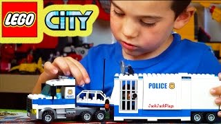 Lego Toy Trucks Unboxing, Time-lapse Build, Playing - Lego City Mobile Command Center