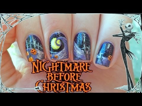 The Nightmare Before Christmas Nail Art - The Nightmare Before Christmas Nail Art - YouTube