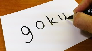 How to turn words GOKU(DRAGON BALL)into a Cartoon for kids -  Drawing doodle art on paper