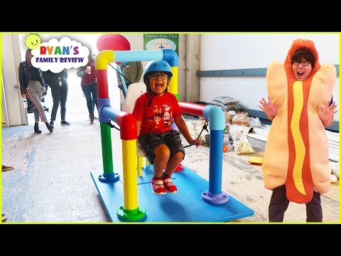 Ryan Test the Giant Catapult Launcher on Ryan's Mystery Playdate!!