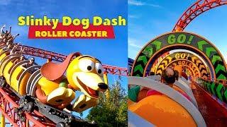 Riding Slinky Dog Dash Roller Coaster During Disney Morning Magic! Multi-Angle POV!