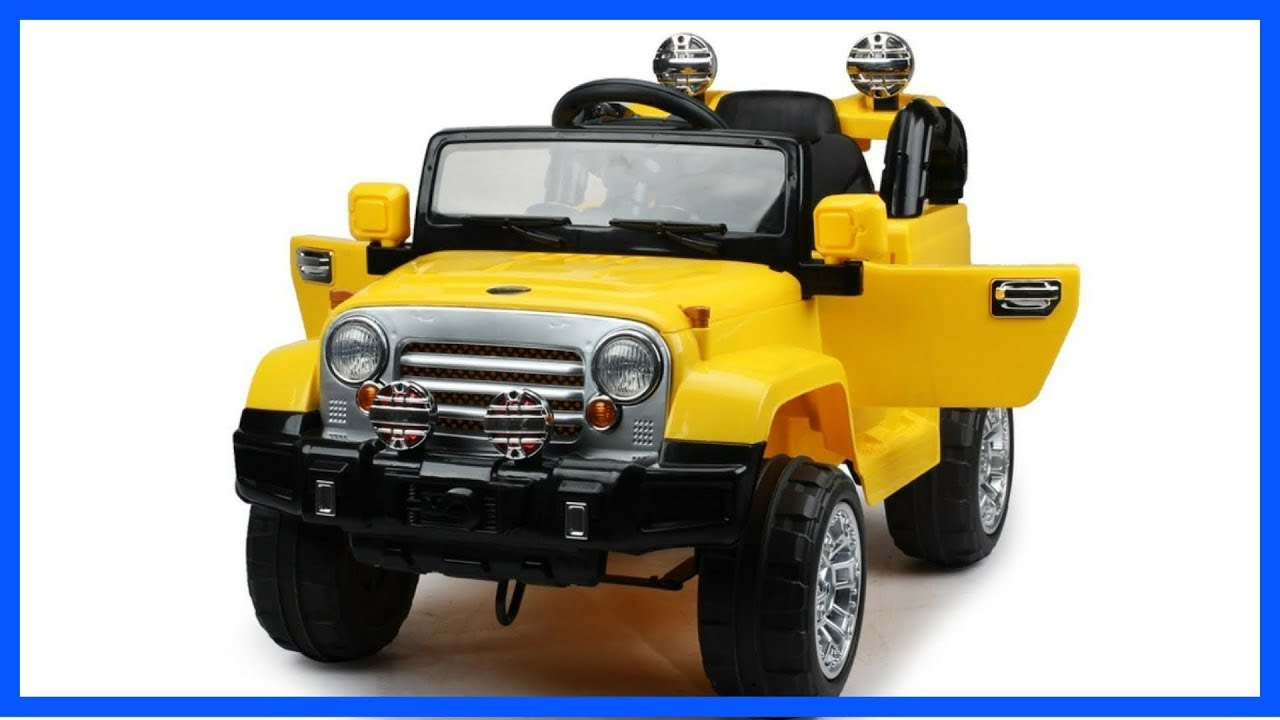 Ride on power wheels jeep style jj245 yellow ride on car for Motorized cars for 5 year olds