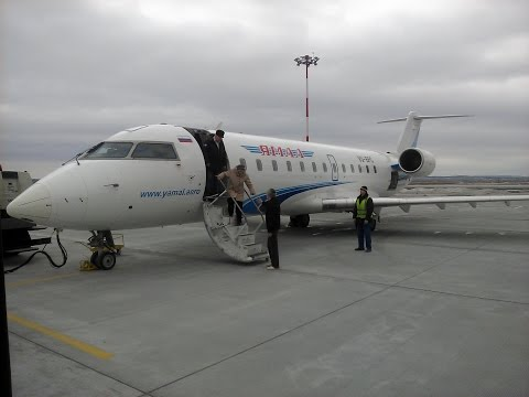 Landing in Salekhard (SLY) Bombardier CRJ-200 YAMAL/Посадка в Салехарде 08.04.2015
