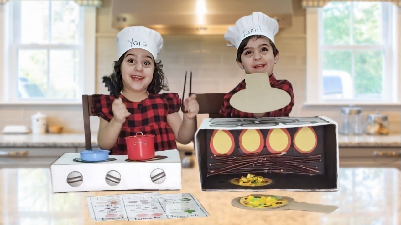 DIY cardboard play kitchen for kids    كيف أصنع مطبخ للأطفال من الكرتون