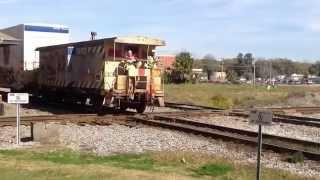 Caboose First Train Slams Diamond, Horn Blarring!! Plant City Florida!