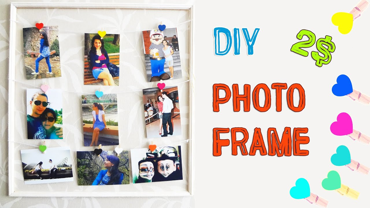 DIY Photo Frame for 2$! How to make Clothespin Picture Frame | DIY ...