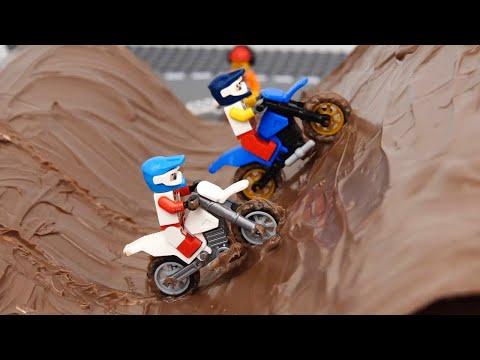 Motorcycle Racing in the Mud and Dirt Bike Wash + Car Racing in Mud