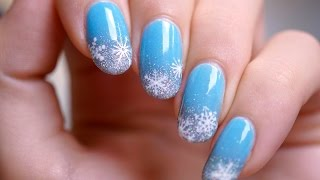 Snowflakes On Glitter Gradient Nail Art Tutorial By Piggieluv