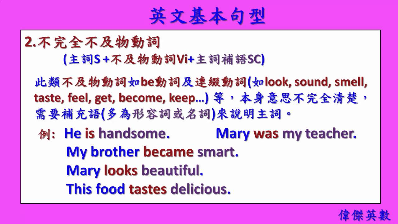 英文基礎文法 80 - 英文動詞五大基本句型 (English Basic Grammar - English Sentences Patterns) - YouTube