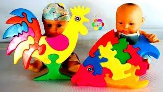 لعبة بازل الديك والسمكة للاطفال اجمل العاب الفك والتركيب بنات واولاد roster and fish puzzle toy game