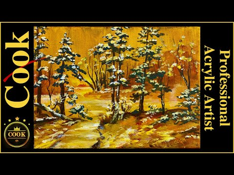 How To Paint A  Golden Christmas Snow Scene  An  Acrylic Tutorial For Beginner And Advanced Artists