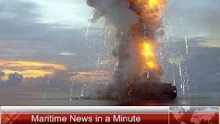 Cargo Ship on Fire at Suez Canal
