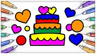 Wedding Cake with Hearts Coloring and Drawing for Children