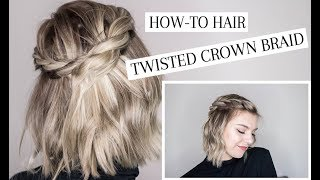 twisted crown braid hair tutorial