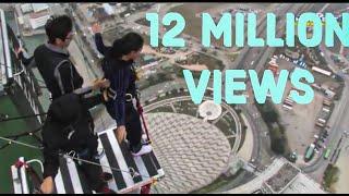 World's Highest Bungy Jump Macau - SCARY FUNNY JUMP , Indian Girl Says JAI HO Before she jumps