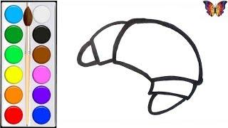 Как нарисовать КРУАССАН /  мультик раскраска РОГАЛИК  для детей / Раскраски малышам
