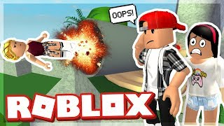 WE ACCIDENTALLY SHOT OUR KID OUT A CANNON! - ROBLOX