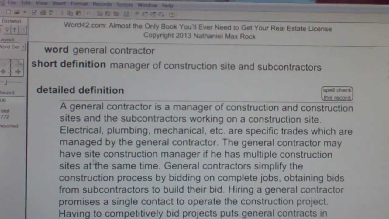general contractor ca real estate license exam top pass words