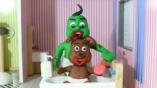 Doggy Bath | OKG Superhero Babies Play Doh & Clay Stop Motion Cartoons For Kids