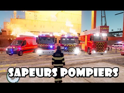 GTA IV - Sapeurs Pompiers / French Fire Dept responding to a navy on fire