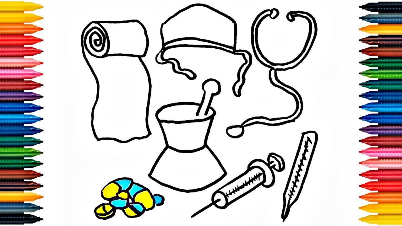 drawing medical kit learn colors with kit draw medical kit colors picture coloring book fun painting
