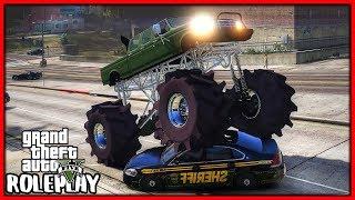 GTA 5 Roleplay - Big Mega Truck Crushing Cop Cars!! | RedlineRP #714