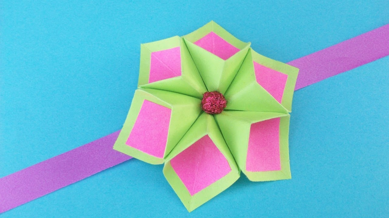 Craft Ideas For Kids With Paper Part - 36: Easy Paper Flower For Rakhi Bracelet, Greeting Card, Room Decor| DIY  Origami Crafts Ideas For Kids
