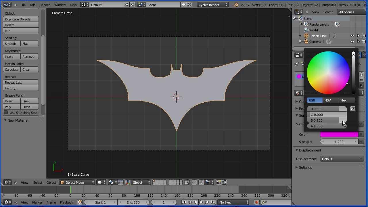 Blender Tutorial Using Curves to Make a Batman Logo ...
