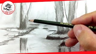 How to Draw a River with Pencil Drawing Techniques