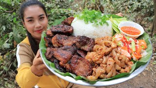 How to cook pork fried with rice and papaya salad recipe