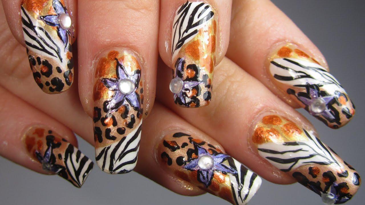 Safari Princess Design With Animal Prints And Purple Flowers Nail