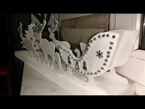 Новогодний декор своими руками дома/  DIY Christmas decor / олени с санями и ёлкой /deer with sleigh