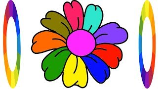 How to Drawing Flower for Kids Rainbow Coloring Learn Step by Step    Little Channel    Draw flower