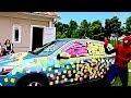 Frozen Elsa STICKY NOTE CAR Spiderman PRANK CAR! w  Spiderman Pink Spidergirl Anna Color Challenge
