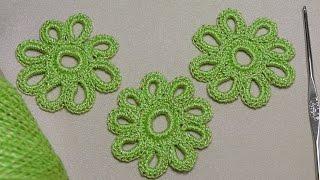 Вязание крючком ЦВЕТКА - урок вязания для начинающих - Crochet lessons for beginners