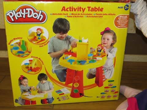 Play-Doh Activity Table,Waffle Machine,Hair Studio,Dough Machine Unboxing
