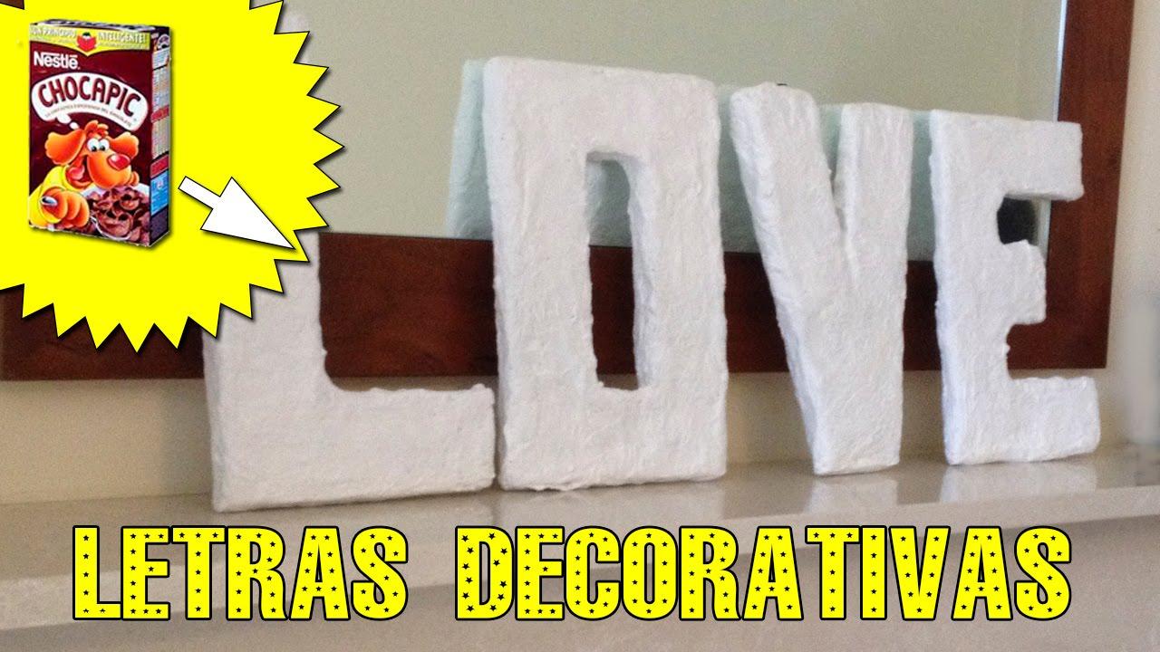 Letras decorativas de cart n youtube for Cosas para casa originales