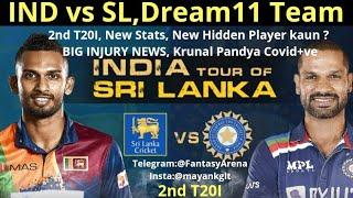 IND vs SL   2nd T20I,Krunal Covid+ve😳,Playing11 me Changes🤔Injury News IndiavSriLanka Dream11Team