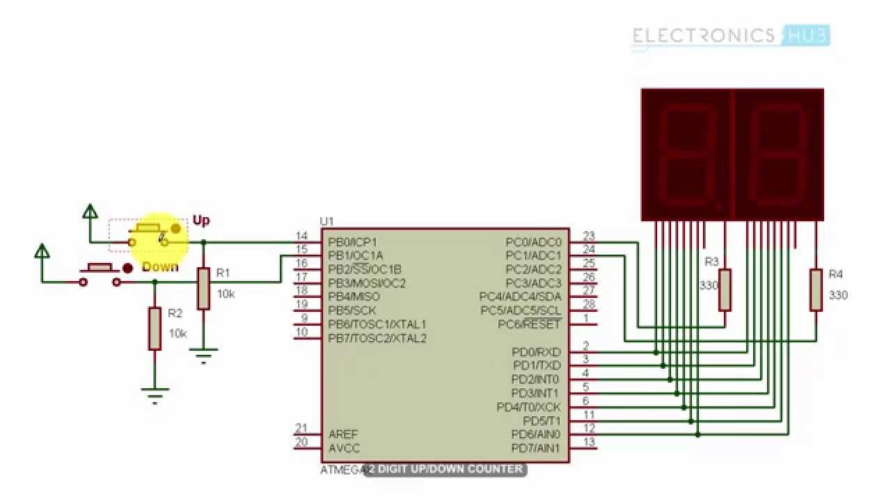 2 digit up down counter circuit using 7 segment displays with circuit diagram [ 1280 x 720 Pixel ]