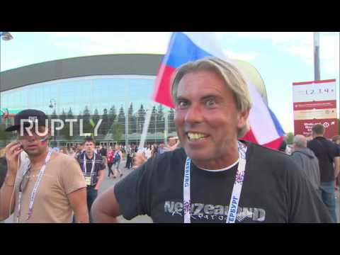 Russia: Russian fans celebrate win over New Zealand