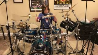 13 yr old drummer mad double bass influenced by Mike Portnoy Sons of Apollo/ Dream Theater