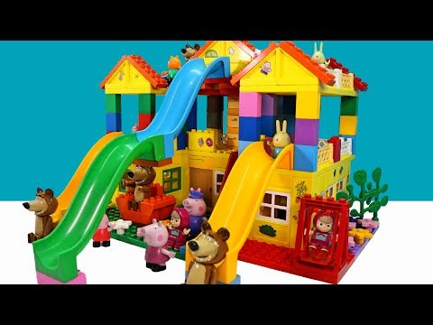 Thumbnail: Peppa Pig Blocks Mega House LEGO Creations Sets With Masha And The Bear Legos Toys For Kids #18