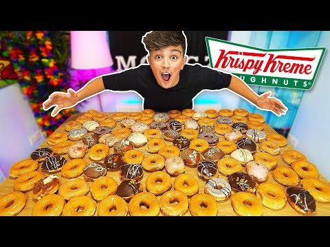 EATING 100 DONUTS CHALLENGE!! *500,000 CALORIES* (Entire Krispy Kreme Menu World Records)