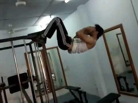 T.I.T. & S. Bhiwani, Hostel Gym - Fitness motivation by GIRISH - Hanging crunches 2014 04 29 3248