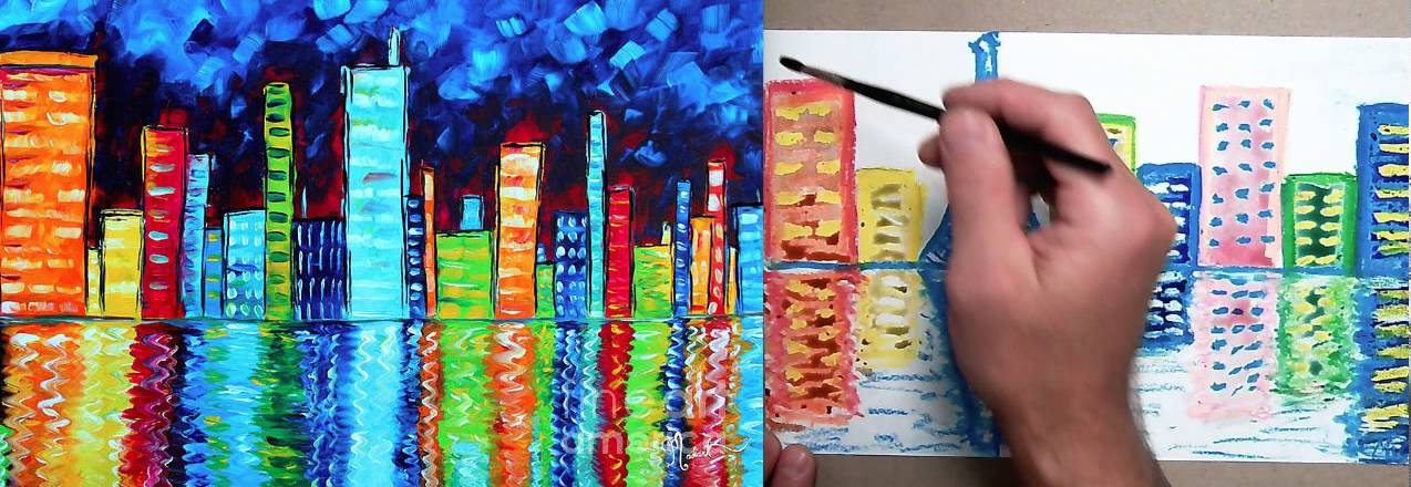 Oil Pastels Paintings Abstract